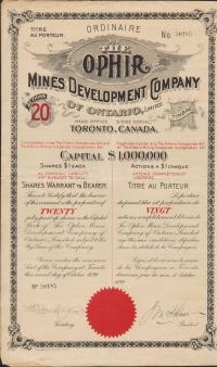 THE OPHIR Mines Development Cy Of ONTARIO (CANADA)