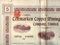 The TELEMARKEN Copper Mining & Smelthing Cy (NORVEGE)